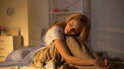 Sad Lady Sitting in Bed Thinking of Problem, Seasonal Depression, Melancholy