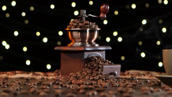Thumbnail for Coffee Grinder with Grains and Cup Hot Drink with Smoke