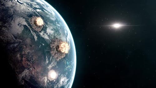 World War III - Nuclear Explosions Seen From Orbit of Planet Earth