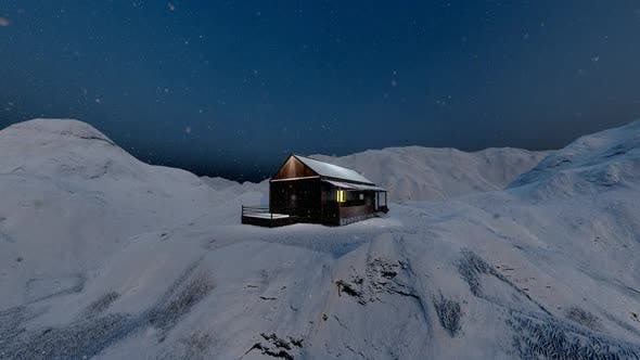 Thumbnail for Snowy High Mountains and Wooden Chalet