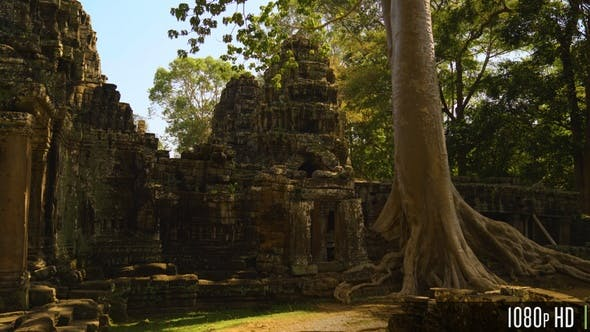 Banteay Kdei Temple Surrounded by Jungle Trees in Cambodia