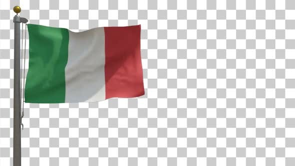 Thumbnail for Italy Flag on Flagpole with Alpha Channel