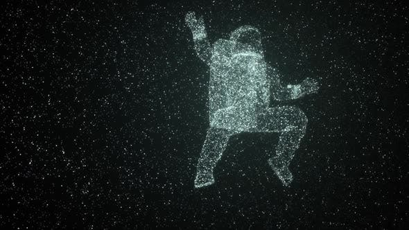 Astronaut By Stars Floating In Space