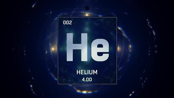 Graphic Info Chart of Helium as Element 2 of the Periodic Table on Blue Animation Background