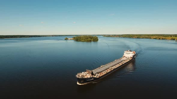Thumbnail for Aerial view:Barge on the River.