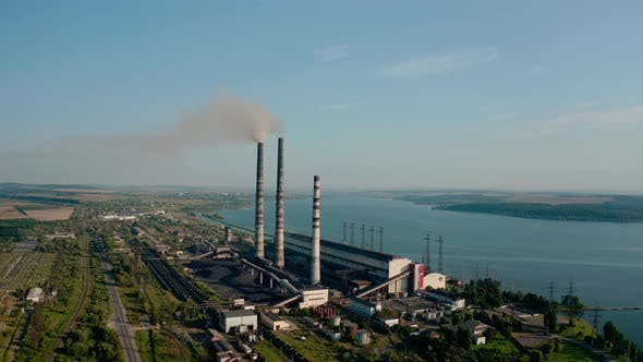 Thumbnail for Aerial Drone View of High Chimney Pipes with Grey Smoke From Coal Power Plant, Wide View
