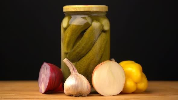 Thumbnail for Footage Glass Jars with Salted Vegetables for the Winter Rotated on Table