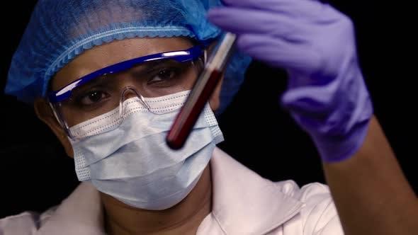 Female Scientist Red Testtube Sharp