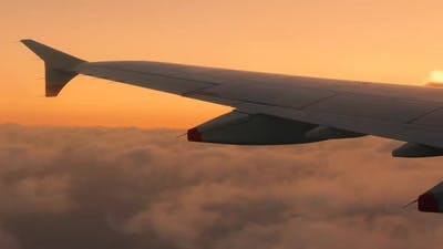Passenger View of Airplane Soaring The Sky