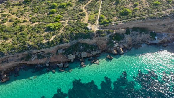View of the Island Illa De Tagomago From a Bird's Eye View. Ibiza and Balearic Islands in the