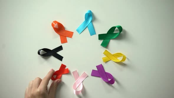 Thumbnail for February 4th World Cancer Day Inscription Between Multicolored Ribbons Awareness