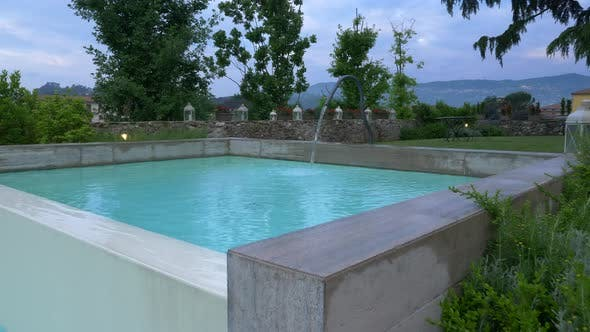 Thumbnail for A pool and spa hot tub at a luxury resort in Italy, Europe.