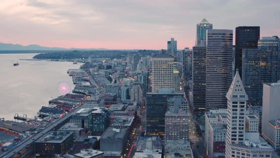 Sodo South Downtown Seattle Skyline Skyscrapers Aerial Helicopter View Looking Down Waterfront
