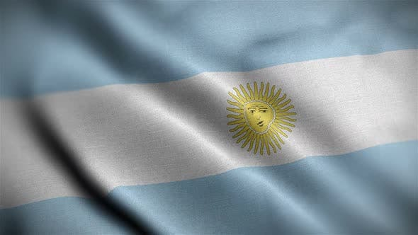 Argentina Flag Closeup Blowing In Wind