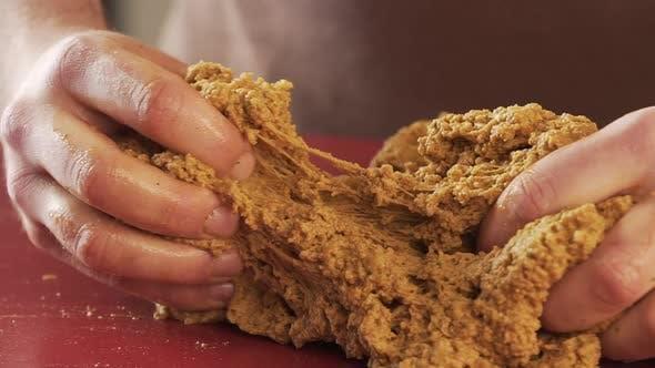 man Hands Work In Flour