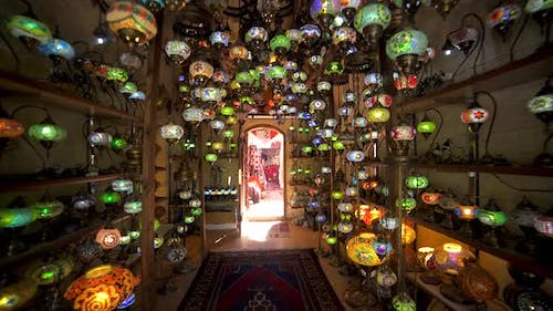 Traditional Bright Decorative Hanging Eastern Lights and Colorful Mosaic Lamps with Vivid Colors