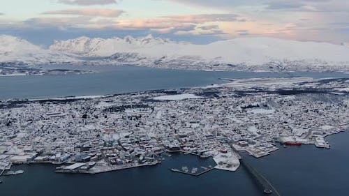 Aerial view of Tromso city in northern Norway, Arctic town