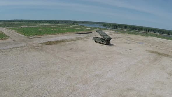Aerial view of missile launcher on shooting-area