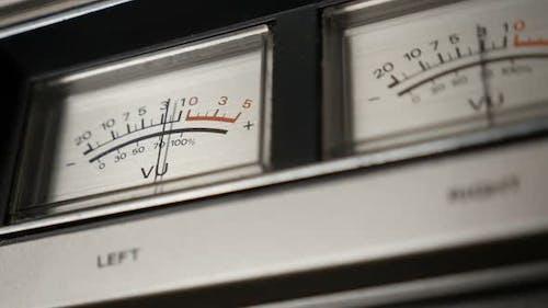 Slow motion of vintage  audio device analog VU meter 1080p FullHD footage - Retro  standard volume l