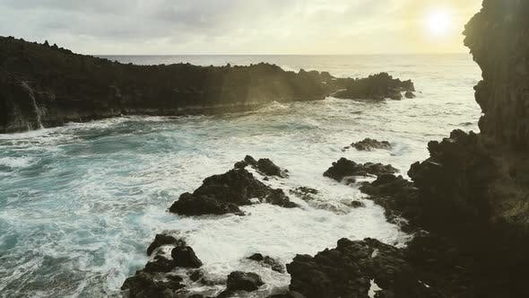 Thumbnail for The Rocky Coast of Easter Island at Sunset.