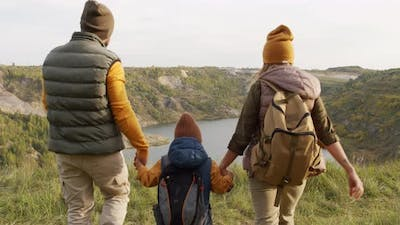 Family Enjoying Scenery on Hike