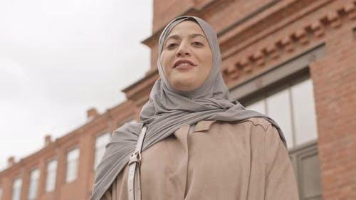 Arabic Woman Singing on Camera Outdoors