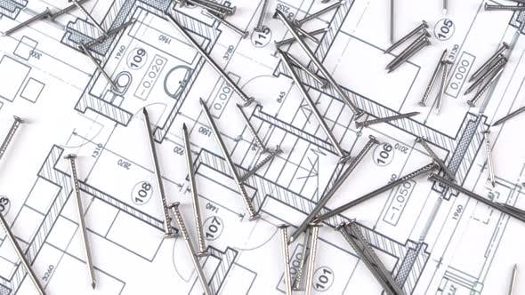 Thumbnail for Metal Nails on Building Plan, Rotation