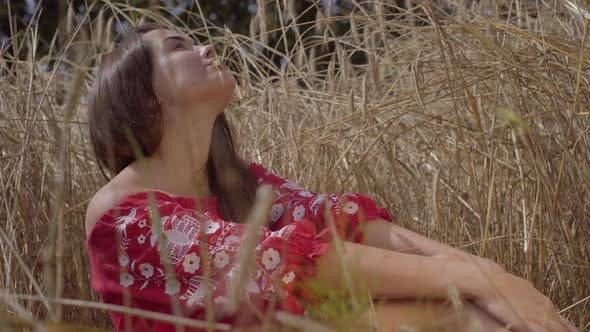 Thumbnail for Portrait Pretty Sensual Woman Enjoying Nature and Sunlight in Wheat Field at Incredible Colorful Sun