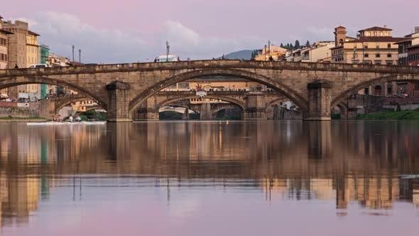 Twilight Timelapse of Florence Bridges