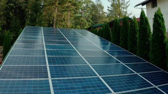 Close Up of Solar Panels, Alternative Electricity Source - Sustainable Resources and Innovative