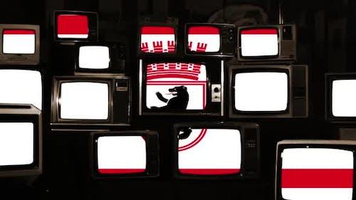 East Berlin City Flag and Retro TVs.