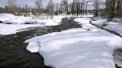 River flowing through deep snow