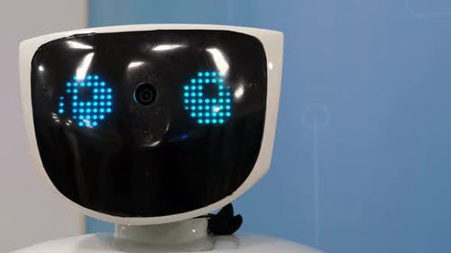 Robot Face with Blue Eyes