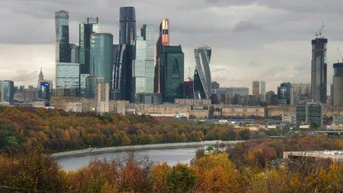 Moscow, Russia, Center of City, View on Complex of Skyscrapers.