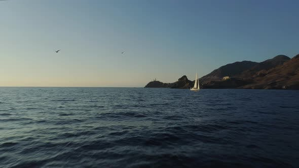 Thumbnail for Sailboat Floating over the Atlantic Ocean in the Western Part of Spain
