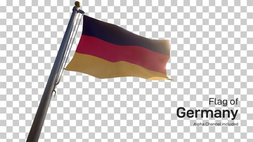 Germany Flag on a Flagpole with Alpha-Channel