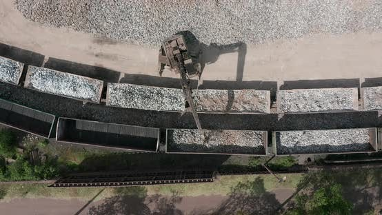 Thumbnail for Aerial View. Vast Excavation Site with an on Going Operation of Excavators Loading Stones on To