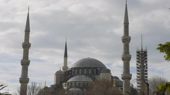Facade of Blue Mosque in Istanbul