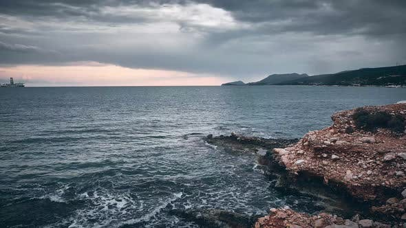 Timelapse of Sea and Evening Cloudy Sky in the Evening