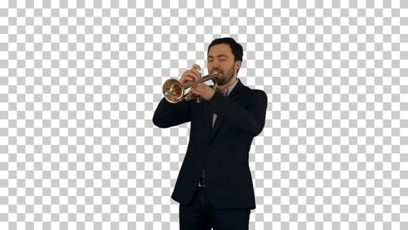 Portrait of a young man playing his Trumpet, Alpha Channel