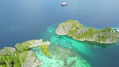 Flight Over the Islands of the Raja Ampat Archipelago