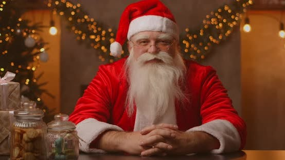 Thumbnail for Close Up of Grey-haired Santa Clause in Glasses Looking at Camera, Headshot Portrait of Funny Old