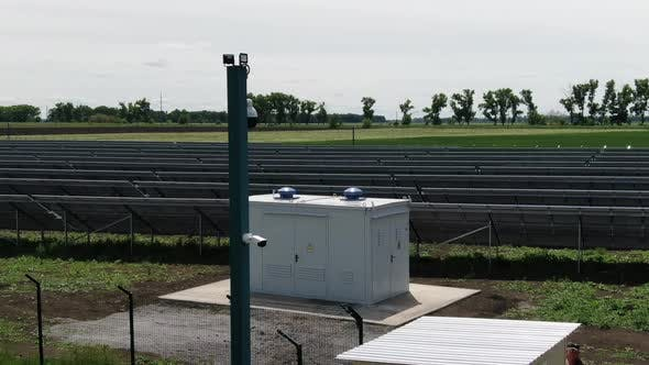 The Transformer on the Foreground of a Solar Power Station,