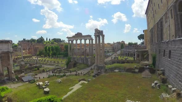 Thumbnail for Roman Forum Open-Air Museum, Beautiful Clouds Flying Above Antique City
