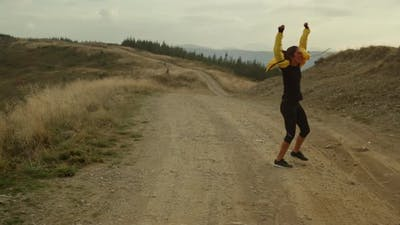 Excited Athlete Enjoying Victory After Training