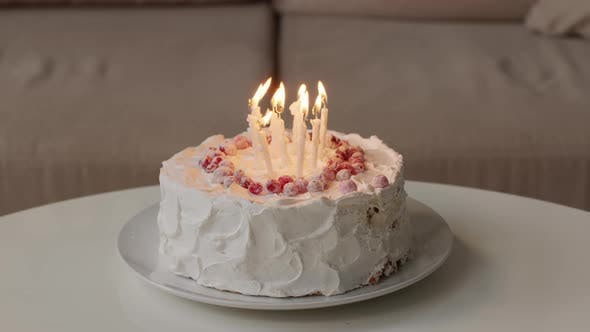 Creamy Birthday Cake With Candlelight