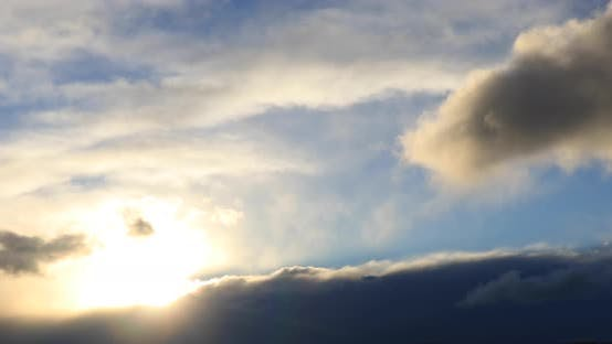 Thumbnail for Dramatic Sunset Over the Lake. Strong Wind