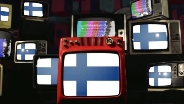 Flags of Finland and Vintage Televisions.