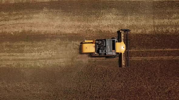 Thumbnail for Drectly Above View of Combine Harvesters Agricultural Machinery. The Machine for Harvesting Grain