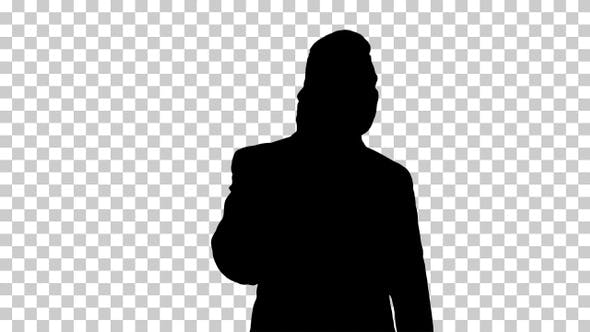 Thumbnail for Silhouette Businessman talking on mobile phone happily